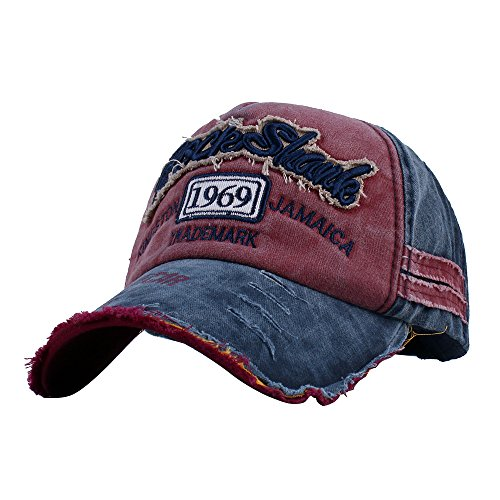 Vankerful Unisex Washed Cotton Baseball Caps Adjustable Snapback Fashion Embroidered Hip Hop Trucker Hat Navy Burgundy ()