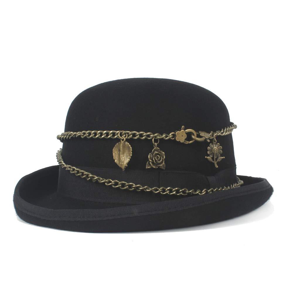 GHC gorras y sombreros Cadena de metal Retro Steampunk Hat 100% lana Mujeres Hombres Negro Bowler Hat Elegante sombrero de cúpula triturada (Color : Negro, Size : 55CM)