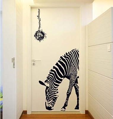 BestGrew® Huge Zabra Vinyl Wall Sticker Zebra Wall Decals Animal Print Home Murals Decor