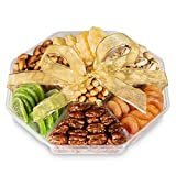 Gourmet Gift Basket Dried Fruit And Nuts - Large 7 Section Tray - Elegant Ribbon No Need to Wrap - Double Sealed Prolongs Freshness - 10x10x2 In - Healthy Vegan Food Nuts Gift Baskets - By Nut Crafts