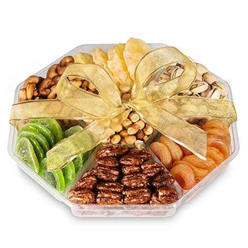 Gourmet Gift Basket Dried Fruit And Nuts - Large 7 Section Tray - Elegant Ribbon No Need to Wrap - Double Sealed Prolongs Freshness - 10x10x2 In - Healthy Vegan Food Nuts Gift Baskets - By Nut Crafts (Fruit Gift Baskets Sympathy)