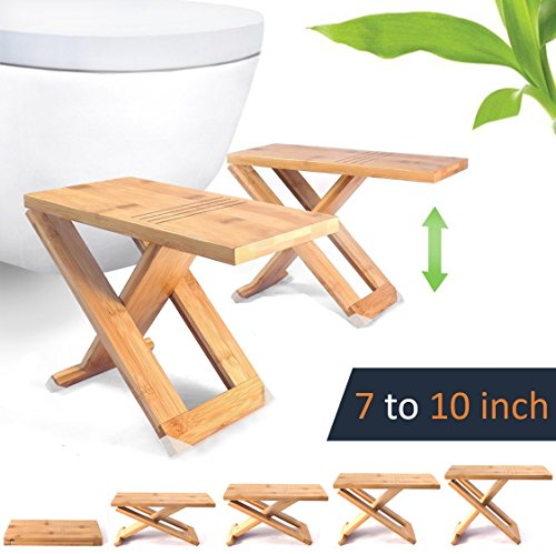 "Squat Toilet Stool by Relaxx - Folding Bamboo Wood Squatting Stools - 7"", 8"", 9"", 10"" Adjustable - The Original Portable Bathroom Foot Stool (One Pair)"