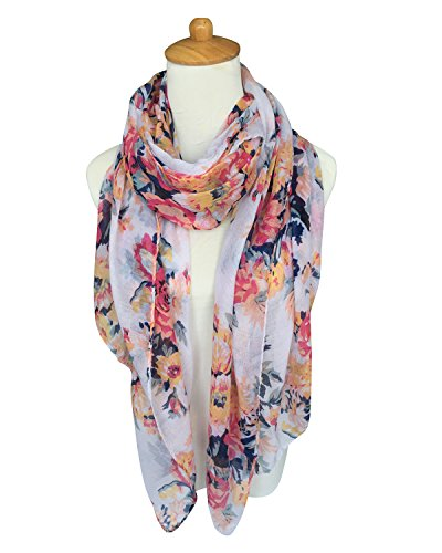 GERINLY Lightweight Scarves: Fashion Flowers Print Shawl Wrap For Women (White)