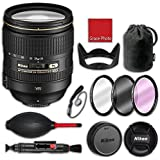 Nikon AF-S NIKKOR 24-120mm f/4G ED VR Lens with CL1218 soft case, HB-53 hood, 3 piece filter kit (UV, CPL, FLD), Rubber air dust blower, Lens cleaning pen