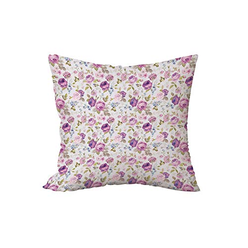 iPrint Polyester Throw Pillow Cushion,Floral,Floral Pattern Pastel Tones Love and Adoration Theme Lovely Leaves Petals,Lilac Green Pale Blue,15.7x15.7Inches,for Sofa Bedroom Car Decorate