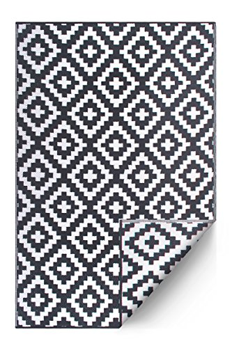 FH Home Indoor/Outdoor Recycled Plastic Floor Mat/Rug - Reversible - Weather & UV Resistant - Aztec - Gray/White (3 ft x 5 ft) ()