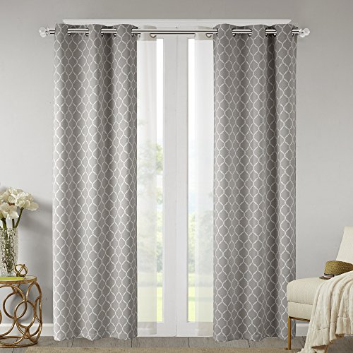 Cheap Comfort Spaces – Windsor Grey Ogee Printed Window Curtain (2 Panels) With Voile Sheer (2 Panels) – 42×84 inch panel – Blackout Room Darkening – Grommet Top