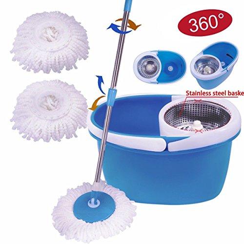 MasterPanel - Blue 2 Heads 360° Magic Spin Mop Stainless Steel Dehydrate Basket W/Bucket #TP3338 (Blazer Pedal)