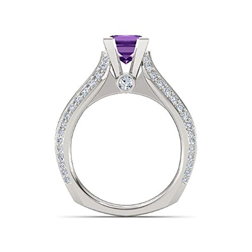 Gold /& Diamonds Jewellery Awesome Solitaire 1.33ct Princess-Cut Created Amethyst /& White Round CZ Wedding Engagement Ring-925 Sterling Silver Aurora Princess Ring