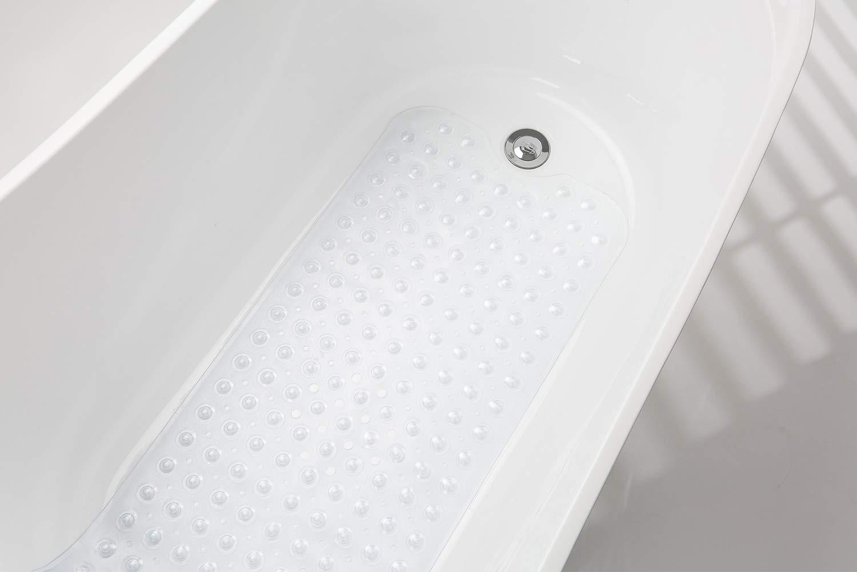 AmazerBath Bath Tub Mat Non-Slip Shower Mats with Suction Cups Machine Washable 27.6 x 15 Inches Clear Blue