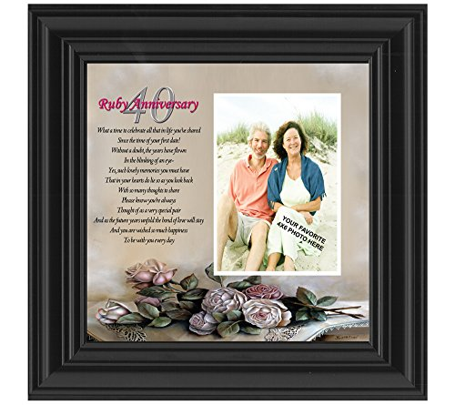 [Ruby Anniversary, Personalized Ruby Wedding Anniversary Picture Frame, 40th Wedding Anniversary, 10x10] (Terrible Couple Halloween Costumes)