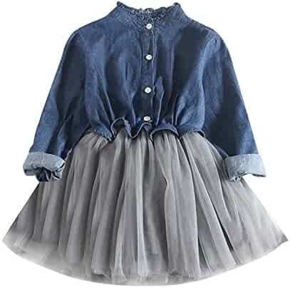 Morecome Toddler Baby Girls Denim Dress Long Sleeve Tutu Princess Dress