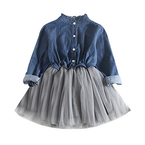 Birdfly Little Girls Western Denim Tulle Dress Outfit Kid Long Sleeve Cowgirl Chambray Swing Dresses (Dark Blue, 4T)