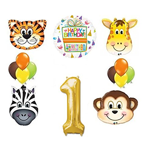 Jungle Animal Safari First 1st Birthday Party Supplies and Balloon Decorations by Mayflower Products