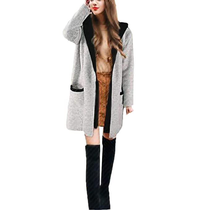 UONQD Women Winter Hooded Two False Pieces Sweatshirt Cardigan Coat (Medium,Gray)