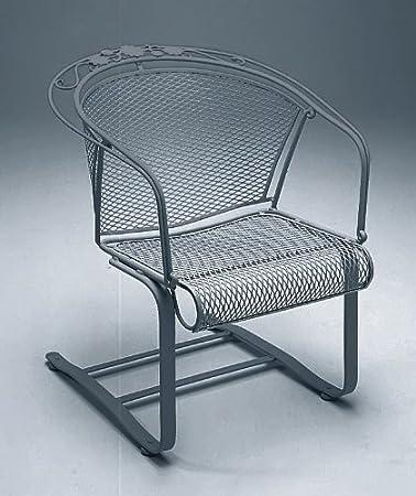 Woodard Briarwood Wrought Iron Spring Base Barrel Patio Chair