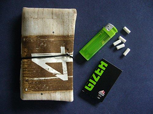 Büroteuse Tabaktasche / Drehertasche im braunen Holzkisten-Design, jede Tasche ein Unikat! Holzkiste