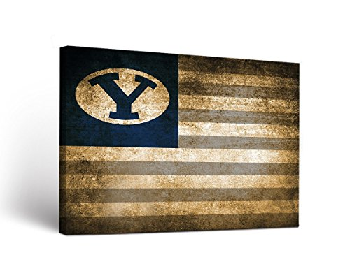 - Victory Tailgate Brigham Young BYU Cougars Canvas Wall Art Vintage Flag Design (24x36)
