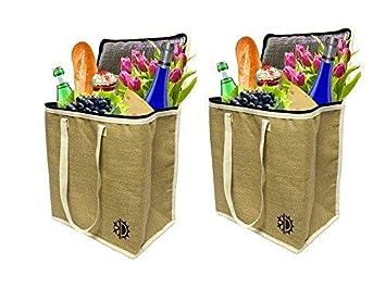 Earthwise Bolsa reutilizable o una canasta para hacer las compras - Un galón con cierre (Pack de 2) Natural