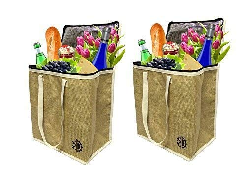 Earthwise Large Jute Insulated Shopping Grocery Bags W Zipper Top Lid Thermal Cooler Tote Keeps Food Hot Or Cold (Set Of 2) B06XGNKGDL, バッグ&ホビー専門店 Bag Life c8819b22