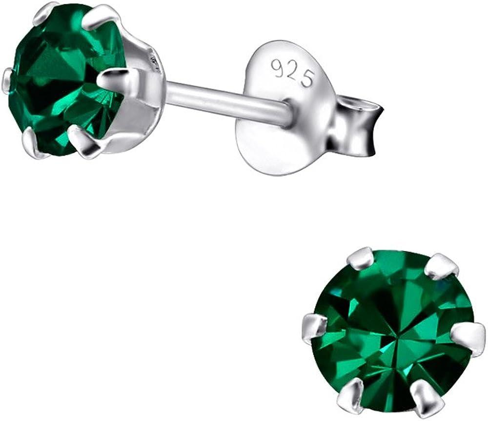 Laimons Pendientes para mujer Brillante redondo Verde Plata de ley 925