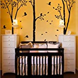 Large Family Tree Branch Wall Decal Birds Wall Decal Art Sticker Mural Personalized Lively Tree Wall Sticker Wallpaper C(X-Large,Trunk and Birds:Black;Leaves:Black)