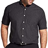 Van Heusen Men's Size Big Wrinkle Free Short Sleeve Button Down Shirt, Black, 3X-Large Tall