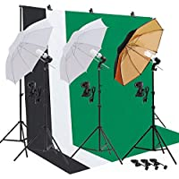 SUNCOO Photo Photography Umbrella Lighting Kit Studio Light Bulb Muslin Backdrop Stand