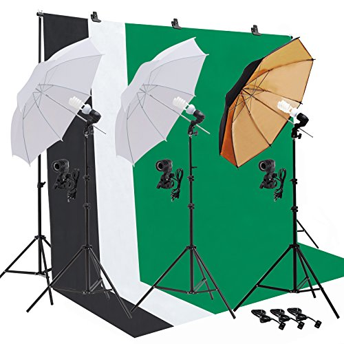 SUNCOO Video Studio Umbrella Lighting Kit,Green Screen with Stand, Continuous Lights with 10ft Background Support Stand System Backdrop Portable Bag, 3 Bulbs, Portfolio Shooting