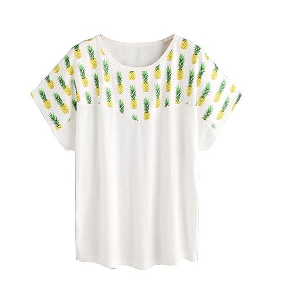 Vovotrade Mujer de moda Piña Blusa Impresa Camisa de manga corta Camiseta Blusa de Verano (