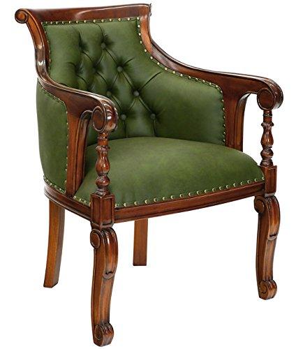 MOREKO Antik-Stil Stuhl Massiv-Holz Mahagoni Bibliotheksstuhl grün ...