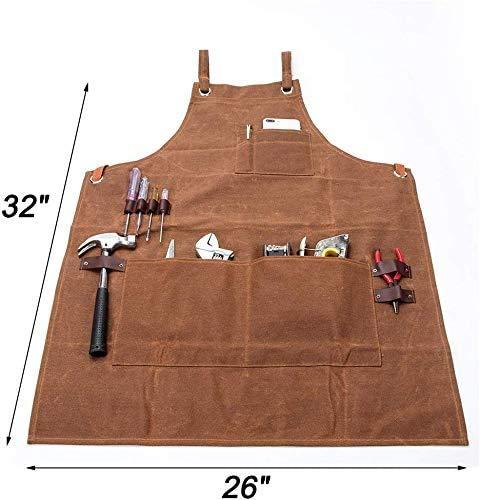 Delantal de trabajo, multiusos, lona encerada, impermeable, resistente al aceite, con bolsillos para herramientas para carpintería, manualidades, pintura, CS-WQ46