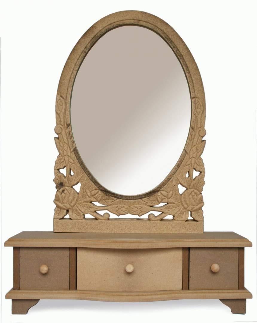 Sylvester Oxford Ltd - Specchio da toeletta con cassetti, grezzo