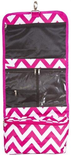 J Garden Pink Chevron Cosmetic Hanging Bag