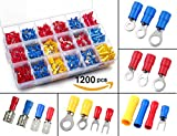 1200pcs Electrical Connectors, Sopoby Insulated Crimp Terminals, Mixed Assorted Lug Kit Ring Fork Spade Butt Connector Set