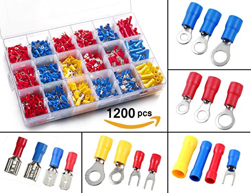 Electrical Terminals Solderless (1200pcs Electrical Connectors, Sopoby Insulated Crimp Terminals, Mixed Assorted Lug Kit Ring Fork Spade Butt Connector Set)