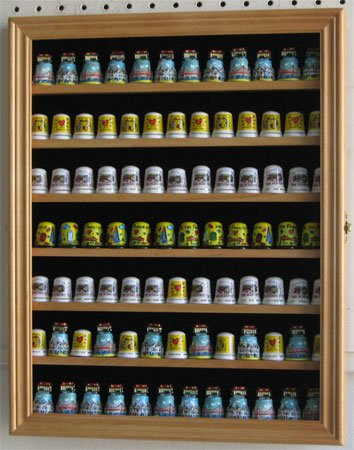 91 Thimble Display Case Shadow Box Wall Cabinet, with glass door, TC91-OA