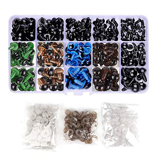 Bestgle 264Pcs Plastic Safety Eyes 6-12mm with Washers for Doll Making Soft Toys Bear Doll Stuffed Animals Puppet, 6 Colors,5 Sizes