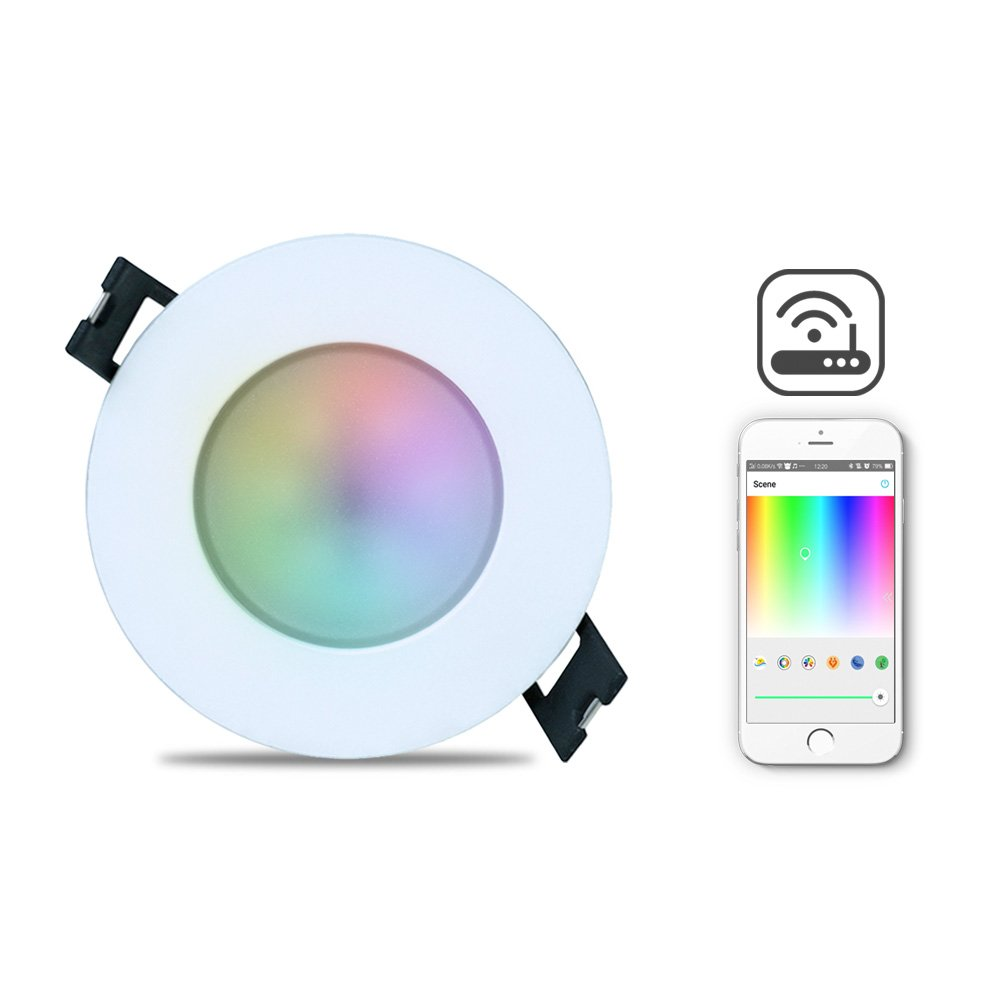 iHomma LED Smart Downlights Ceiling LED Dimmable,Warm White Cool White RGB Colour,Bluetooth APP Control+Remote Control,Downlights Recessed Fitting for Bathroom Kitchen Livingroom,6W 350LM 100~240V