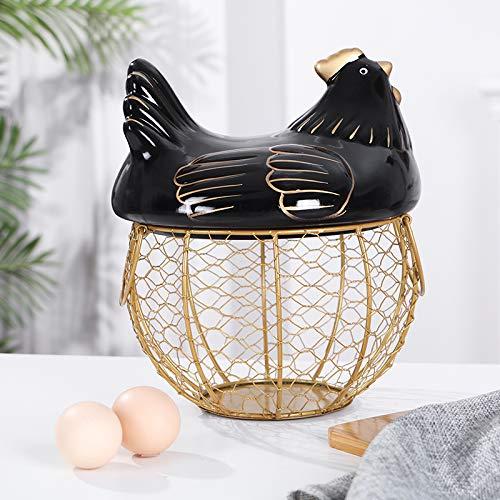 Maple homes Rooster egg basket egg holder black