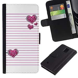 Paccase / Billetera de Cuero Caso del tirón Titular de la tarjeta Carcasa Funda para - Pink Silver Glitter White Lines Pattern - Samsung Galaxy Note 4 SM-N910