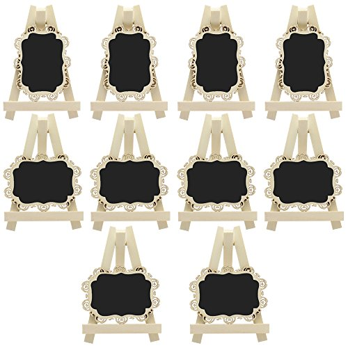 Meetory 10X Mini Rectangle Chalkboards with Easel and Decorative Border for Wedding Party Table Number Sign Place Card Favor Tag