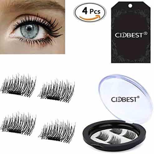 3D Reusable False Magnet Eyelashes, Magnetic Fake Eye Lashes, 1 pair (4 piece) Natural Handmade Extension Fake Eye Lashes - No false eyelashes glue