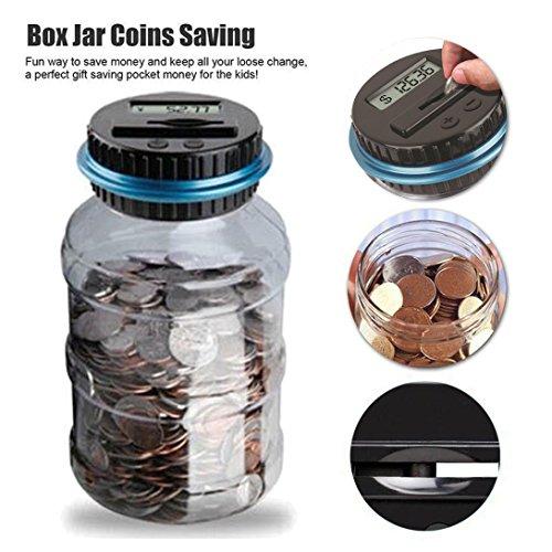 (Digital Coin Bank Savings Jar, Mercures Clear Digital Piggy Bank Coin Counter LCD Counting Money Jar Change Gift (Dollar))