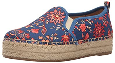 Sam Edelman Women's Carrin Platform Espadrille Slip-On Sneaker, Blue/Multi Festival Floral Print, 5 M US