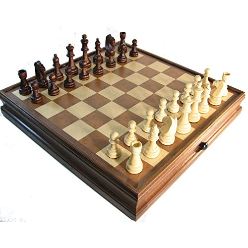 """15"""" Deluxe Chess + Checkers Set w/ Storage"""