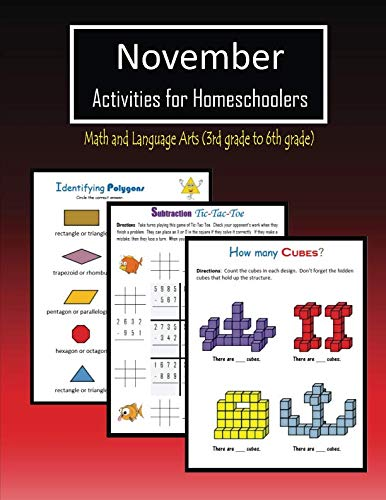 November Activities for Homeschoolers: Math and Language arts (3rd grade to 6th grade) -