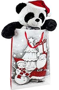 BRUBAKER Peluche gigante XXL Panda Osito 100 cm con cinta y gorra de Navidad en bolsa de regalo