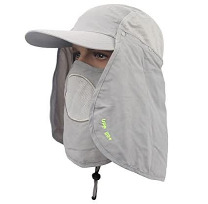 948d773b179 C.C-US UPF 50+ Sun Protection Fishing Hat with Removable Neck  Face Flap  Cover for Sailing Cycling Camping Hiking Sports Bucket Hat
