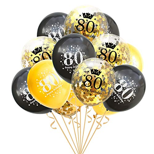 80th Birthday Balloons (15 Packs Inflatable Confetti Balloons 12 Inch Latex Clear Birthday Balloons 18 30 40 50 60 70 80Anniversary Decoration Party Favors (80 Years)